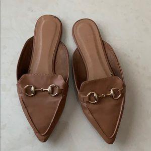 Tan mule slides